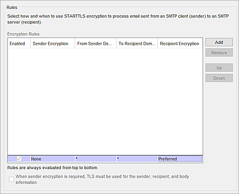 Screen shot of the edited rules in the SMTP proxy action